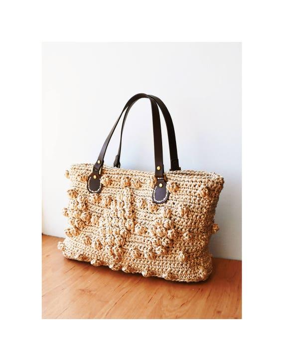 sac main en paille crochet raphia naturel tiss paille sac. Black Bedroom Furniture Sets. Home Design Ideas