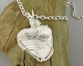 Wire Wrapped Seashell Necklace, Shell Necklace, Dragonfly Necklace, Beach Jewelry, Ocean Jewelry