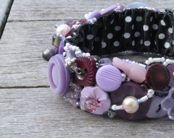 Purple, Purple,Vintage Button Bracelet,  1 Inch Wide Hand Embroidered Repurposed Jewelry Size Med
