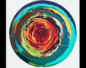 Lyon, Giant square original abstract painting, colorful vibrant circle, NYC artist