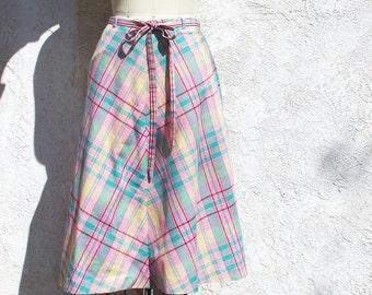 Vintage 70s Pastel Plaid Cotton Wrap Skirt