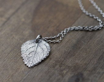 Rustic Leaf Necklace in Sterling Silver • Summer Outdoors Botanical Silver Necklaces for Women • Handmade Jewelry by Burnish