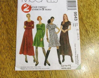 BOHO A-Line Bias Cut Fit and Flare Dress / EASY 2 Hour Basic Dress - Size (10 - 12 - 14) - UNCUT Sewing Pattern McCalls 9543