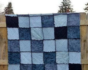 """Rag Quilt by AngelKaringQuilts 55"""" X 55"""" dorm quilt   white grey & black Throw Size Couch Flannel rag quilt Ready to Ship"""