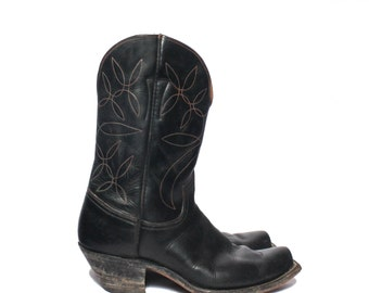 9 | Men's 1950's Nocona Cowboy Boots Short Black Leather Western Boots with Orange Stitch