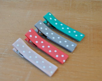 Hair clips, Infant hair clips, Toddler hair clips, Baby Hair Clips, Set of 4 hair clips, Coral-Teal-Gray-Pink-Swiss Dots