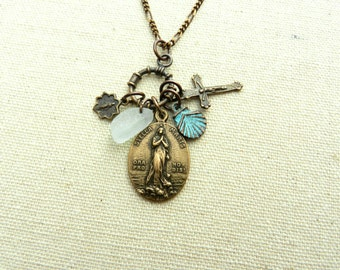 Stella Maris - Our Lady Star of the Sea - Charm Style Necklace - Bronze - Vintage Reproduction Medals - Sea Glass -  - Made in the USA