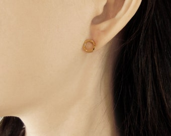 Hammered circle earrings, open circle studs, simple studs, small stud earrings - available in gold, rose gold, silver