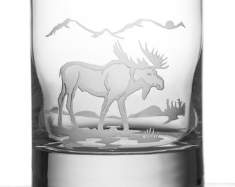 Moose, 13oz Rocks Glass, Etched (Sandblasted), Original Design