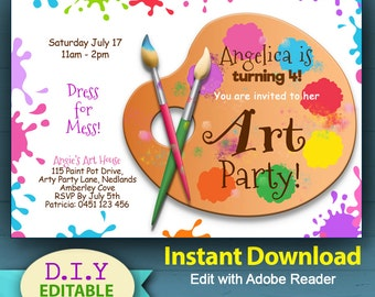 EDITABLE - Art Party Invitation, Printable Party Invites, Artist Palette Invitation, Paint Brush Invitations, Craft Party Invites