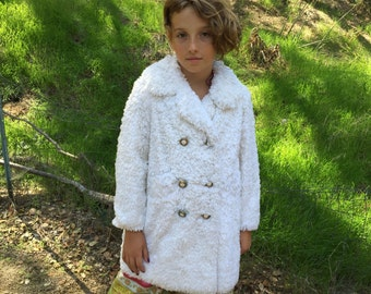 VTG Rothschild girls Coat Fur white Sz 5 6 7 8 Country Girl