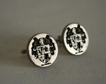 Family Crest Cufflinks Coat of Arms - made from stainless steel medallions