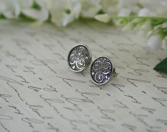 Silver Triskele earrings Filigree Tri Swirl - Made with vintage buttons