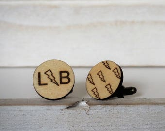 Lightning Bolt Cufflinks Personalized Initials Lightning Custom Cufflinks Monogram Cufflinks Thunder Engraved Cuff Links Grooms