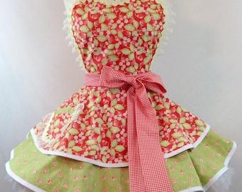 Strawberry Fields Pinup Diner Apron /Retro Apron /Romance, Woman's Apron