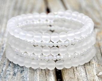 White Frost & Sparkle Boho Wrap Bracelet