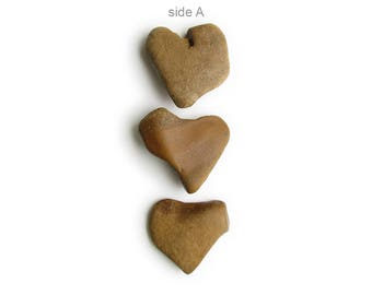 3 Heart Shaped Flat River Stones - Natural River Beach Rocks - Valentines Day Decor - Romantic Gift