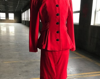 40s Red Wool Suit with Bow