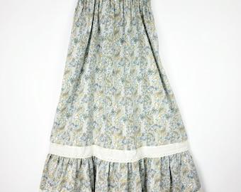 """70's Maternity Tent Trapeze Dress / 28"""" Waist  / Boho Paisley Cotton Stripe / Eyelet Lace / Ruffle / Oversize Dress / Blue Green"""