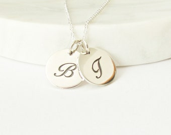 2 Script Initial Charm Necklace - Personalized Jewelry - Silver Initial Necklace - Mommy Necklace - Initial Necklace