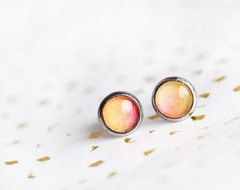 Yellow Orange Stud Earrings, Orange, Stud Earrings, Tangerine, Yellow Stud Earrings, Sunshine Studs, Sunshine Earrings, Sunshine Ombre