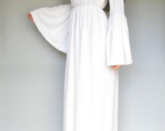 romance in the air - organic cotton bamboo white off shoulder maxi dress - bohemian festival wedding bridesmaid sundress