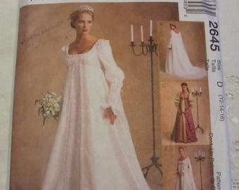 McCall's 2645 Renaissance Wedding Gown Pattern Sz 12 14 16 Gothic Dress FF