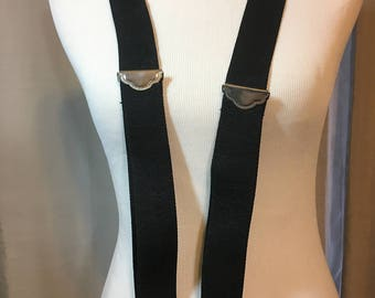 Black Stretch Fabric Wide Suspenders with Brown Leather Trim and Silver Clips, Straps are 1.5 Inches Wide Previously 20 Dollars ON SALE