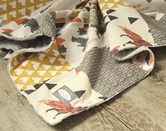 Fox and Bear Baby Blanket - Orange, Mustard and Brown Baby Boy Patchwork Blanket, Woodlands Blanket