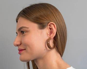 Oversized Hoop Earrings / Vintage 80s Hoop Earrings / Brown Hoop Earrings / Statement Earrings / Costume Jewelry