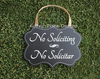 No Soliciting No Solicitar Wooden Door Sign