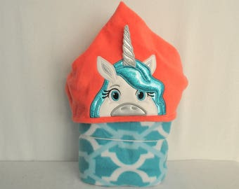 Blue Haired Unicorn On Coral Hooded Blanket