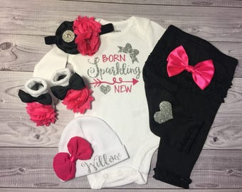 baby girl outfit, baby, girl, outfit,newborn outfit, take home outfit, baby girl coming home outfit, baby girl clothes, name, sparkling new