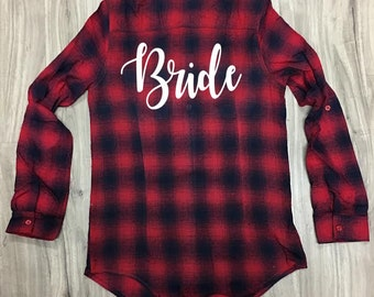 Bride to Be Custom Flannel Button Up Shirt Red/Navy Personalized Glitter Gift Party Bridal Bachelorette