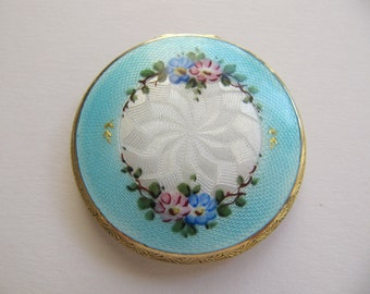 Guilloche enamel powder compact, tiny art deco 1920s mirror compacts, flapper era item, small double sided enamel compact, aqua blue & white