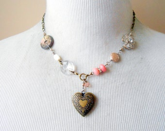 Vintage Heart Locket Necklace, Assemblage Jewelry, Shabby, Cottage Chic, Eclectic, Button, Antique Brass, Repurposed, Upcycled, Recycled