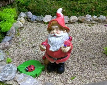 Friendly Ladybug Gnome in the Fairy Garden