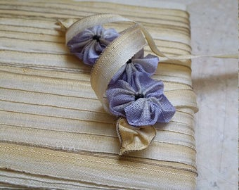 """1/4"""" Antique Silk Ombre Pale Yellow Gold to Ivory with fine metal edge detail Ribbon works, ribbon leaves, bridal, wedding, doll, boudoir,"""