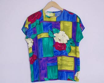 Vintage 1980's Color Block Rose Cap Sleeve Boxy Blouse Top M