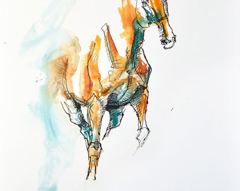 Watercolor, Ink and pen Horse Original Painting on Paper, Contemporary Art, Modern Art, Expressive Art, Animal