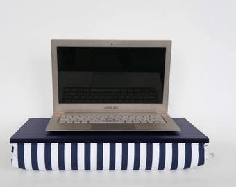 Laptop stand, Breakfast in Bed Tray - midnight blue with navy and white striped Pillow