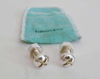 Vintage Tiffany and Co. Sterling Silver Nut and Bolt Cuff Links