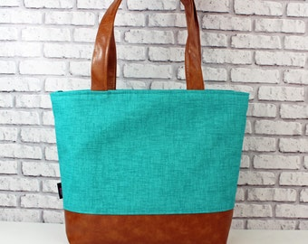 Lulu Large Tote Diaper Bag  Teal Denim and PU Leather with Grey Lining    Zipper Closure