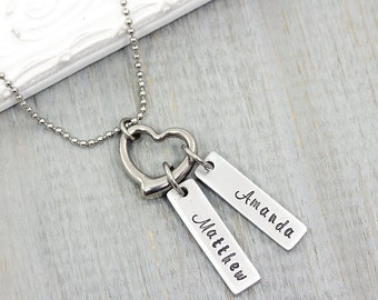 Personalized Necklace - Hand Stamped Jewelry - Mommy Necklace - Personalized Mom Necklace