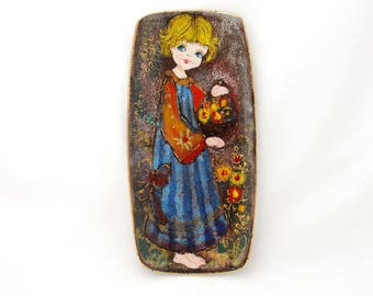 """Vintage Ker-Vitrex Germany Young Barefoot Girl with Floral Basket Art Pottery - Small Wall Plaque Hand Painted Signed """"Grena"""" - Mid Century"""