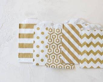 Gold Metallic White Kraft Small Bags - 20 pc - Horizontal Stripe / Polka Dot / Honeycomb / Diagonal Stripe / Chevron