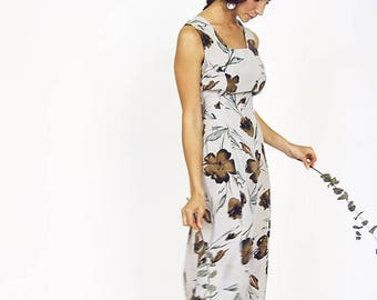 90s Muted Floral Tube Dress
