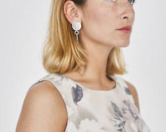 Silver Circular Bar Pendant Earrings