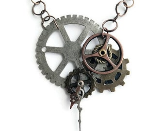 Industrial Neo-Victorian Repurposed Handmade Ooak Machinery Steampunk Kinetic Watch hands Necklace