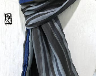 Mens Scarf Silk, Fathers Day Gift, Reversible Mens Silk Scarf Handpainted, Navy Blue, Black and Gray Zen Stripes, Takuyo, 14x72 inch